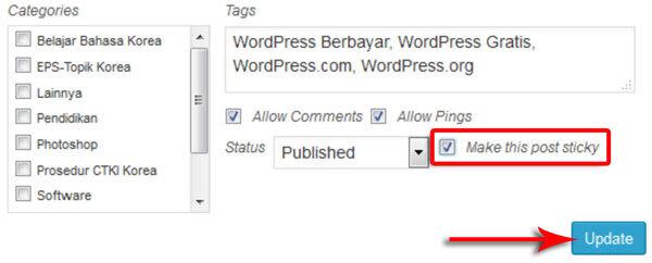Cara Membuat Sticky Post Di WordPress Dan Pengertiannya 4