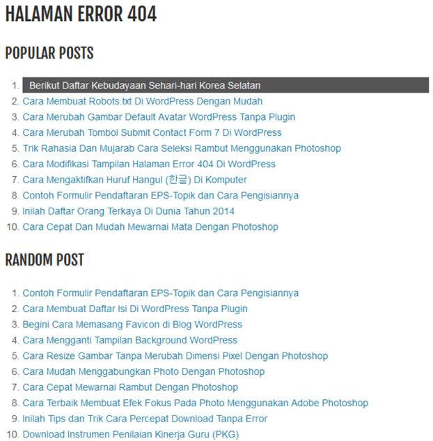 Merubah Halaman Error 404 Menjadi Popular Post dan Random Post 2