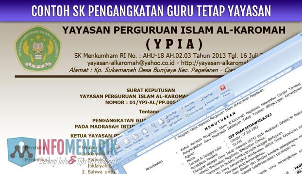 Download Contoh SK Guru Tetap Yayasan Madrasah Format Doc