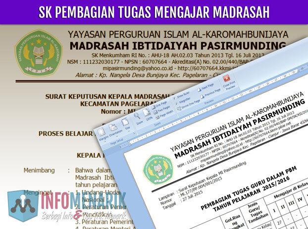 Download SK Pembagian Tugas Mengajar Madrasah Format Doc 0