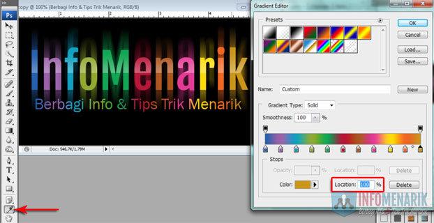 Cara Membuat Huruf Warna-Warni Efek Pelangi (Rainbow) Di Photoshop 19