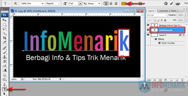 Cara Membuat Huruf Warna-Warni Efek Pelangi (Rainbow) Di Photoshop 6