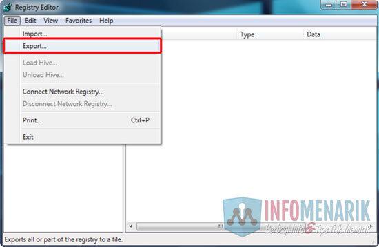 Cara Backup Registry Windows 2