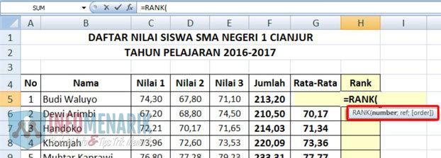Cara Membuat Ranking Menggunakan Rumus Office Excel (3)
