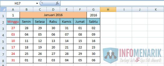 Cara Membuat Kalender Otomatis Di Office Excel (10)