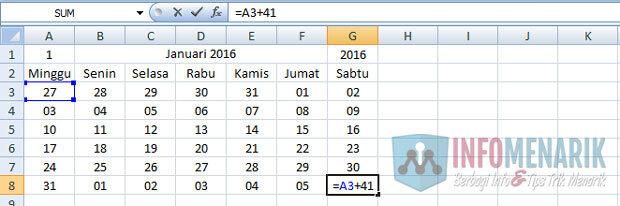 Cara Membuat Kalender Otomatis Di Office Excel (9)