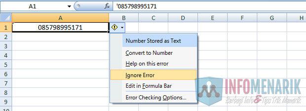 Cara Mengetik Memunculkan Angka Nol Di Excel (2)