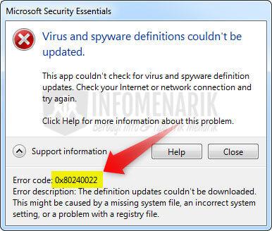 Cara Mengatasi Update Antivirus MSE Error Code 2