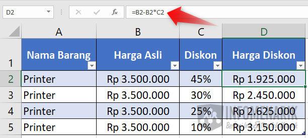 Cara Menghitung Diskon di Excel 2