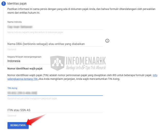 Cara Mengisi Informasi Pajak Google AdSense 8