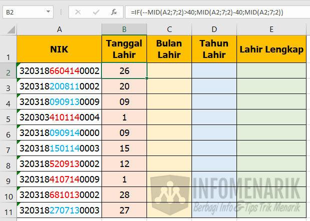 Cara Mengetahui Tanggal Lahir di Excel 02