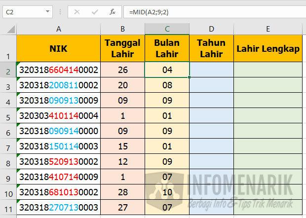 Cara Mengetahui Tanggal Lahir di Excel 03